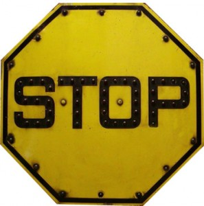 human factors in hisotry yellow stop sign with beads