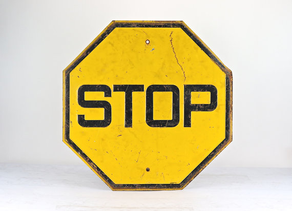 Human factors in history yellow stop sign