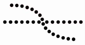 Black dotted line intersected by a second black dotted line.