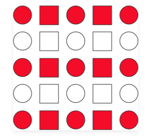 Red and white squares and circles