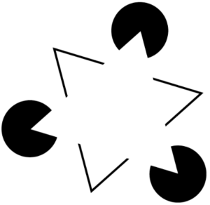 Circles with cutouts that make it seem like a triangle is present