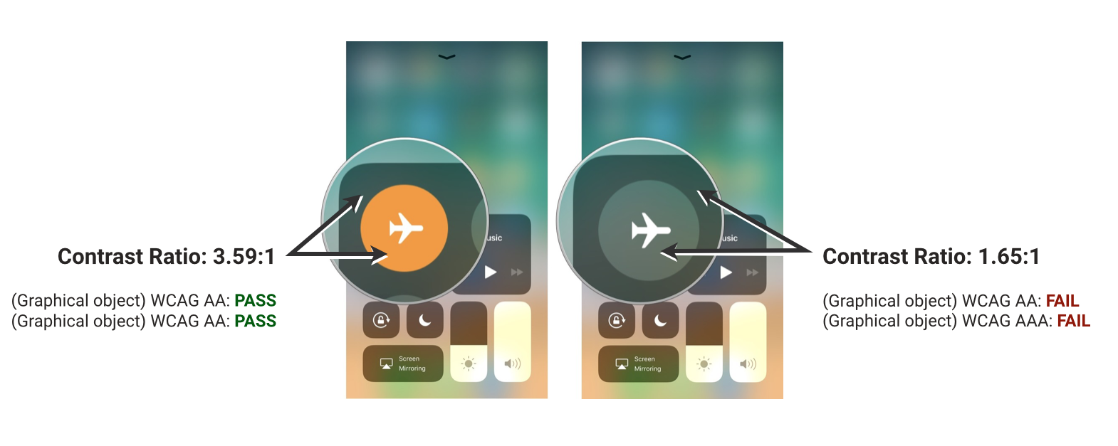 airplane mode contrast
