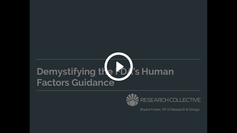 Screen shot of demystifying the FDA's human factors guidance webinar.